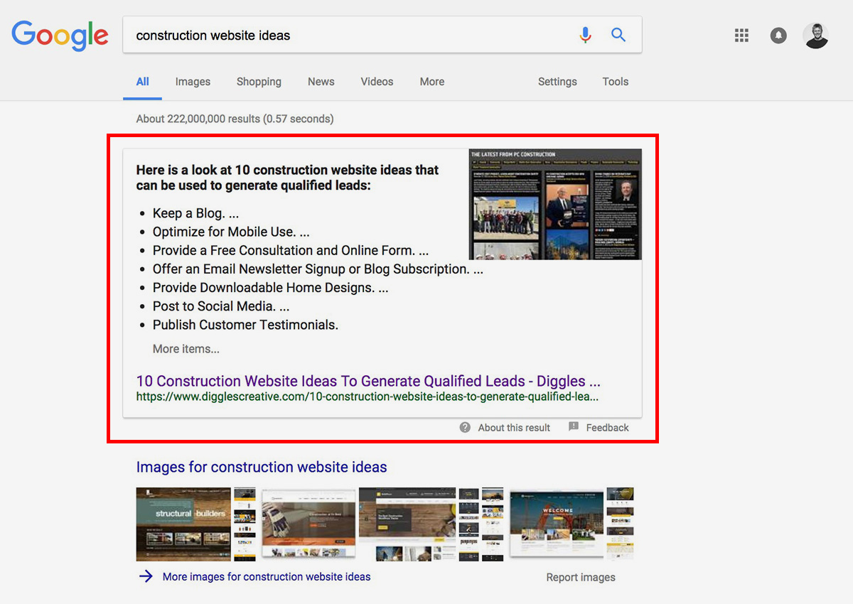 Featured Snippet - Ranking on Google