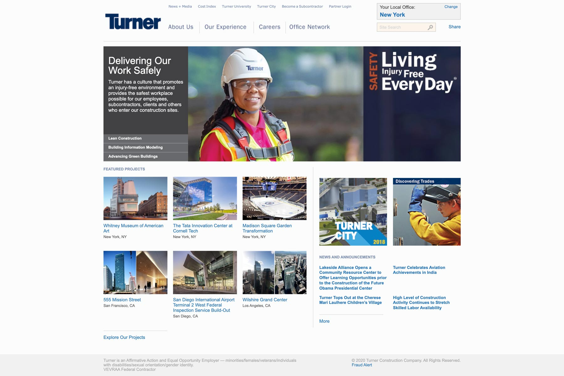 Turner - Construction Company Logo in a Website