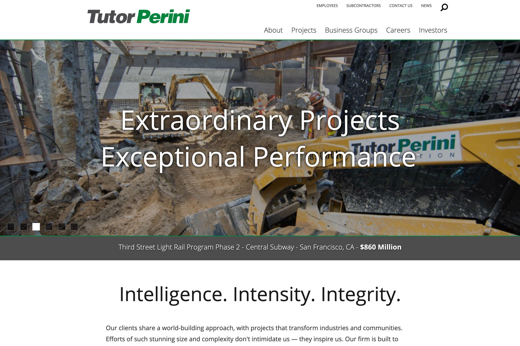 Tutor Perini - Construction Company Logo on a Website