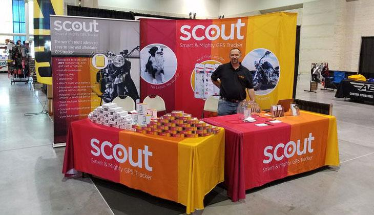 Trade show display for Scout GPS.
