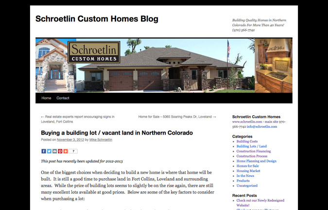 Construction Websites: Write Targeted Content - Schroetlin Custom Homes