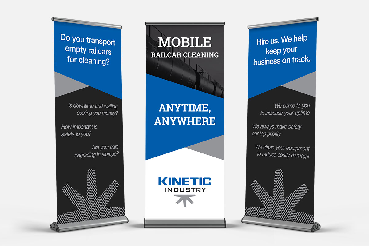 Tradeshow retractable banners for Kinetic Industry