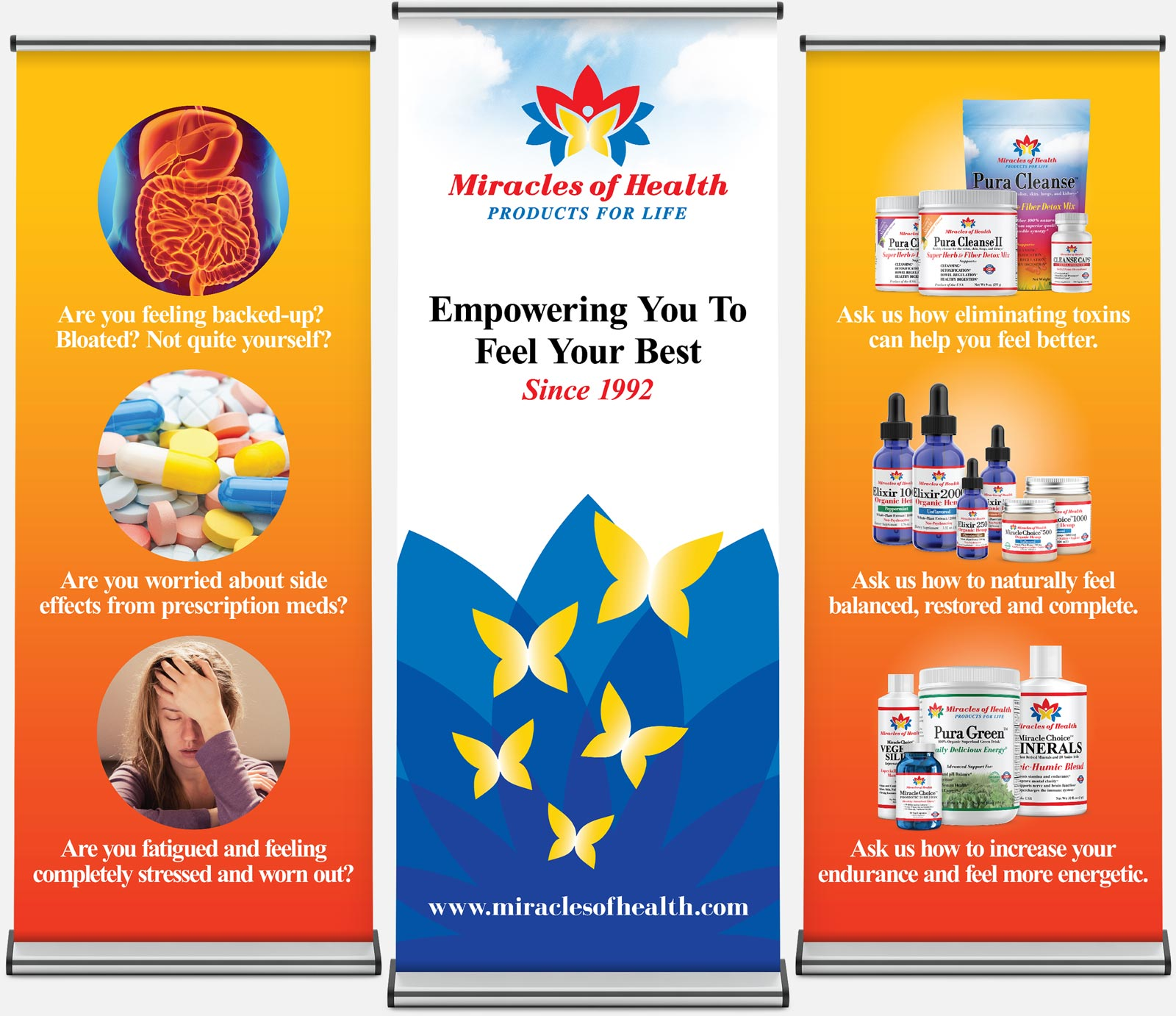 Branding retractable banner event displays for Miracles of Health