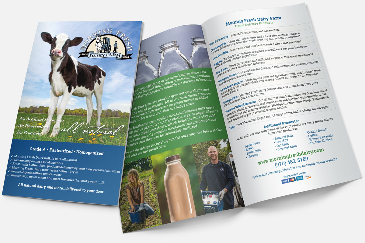 Brochure graphics for Morning Fresh Dairy