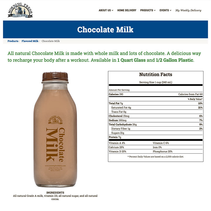 Products with Nutrition Facts - Morning Fresh Dairy