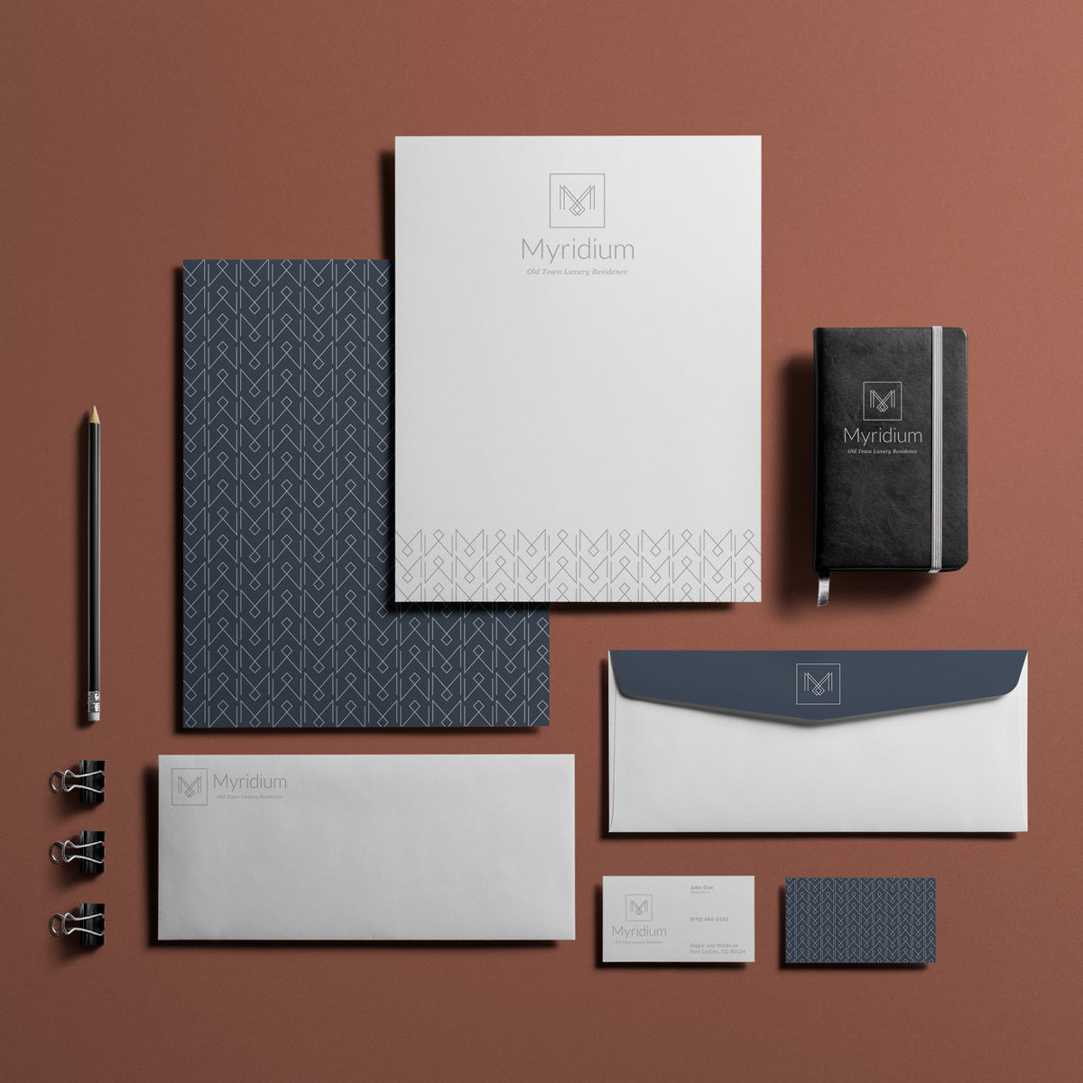 Branding stationary for Myridium