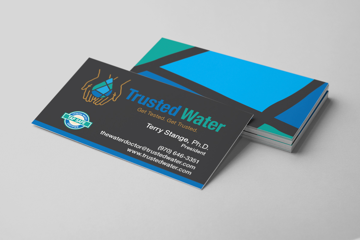 Branding business card design for Trusted Water.