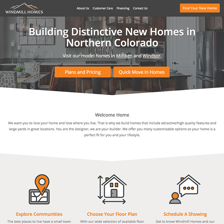 Web design for Windmill Homes