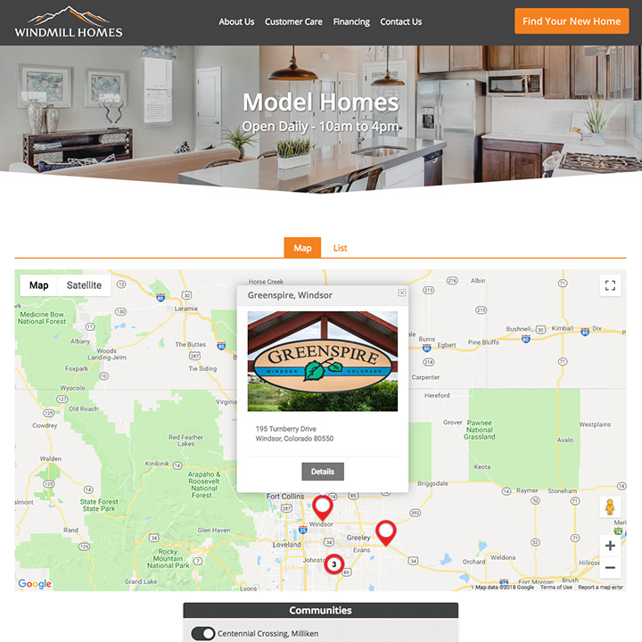 Model Homes Interactive Map - Windmill Homes