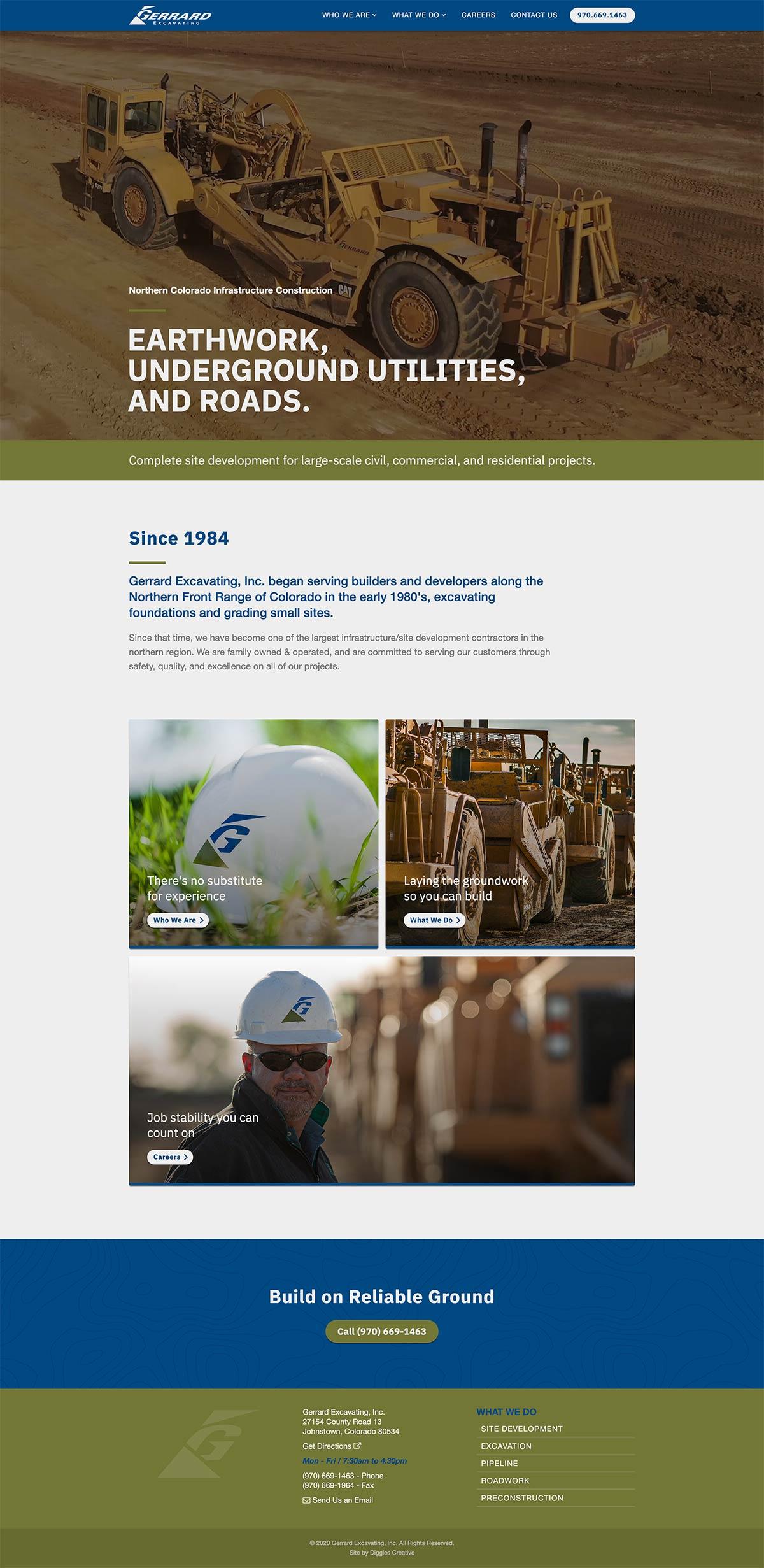 Gerrard Excavating - Construction Website Design