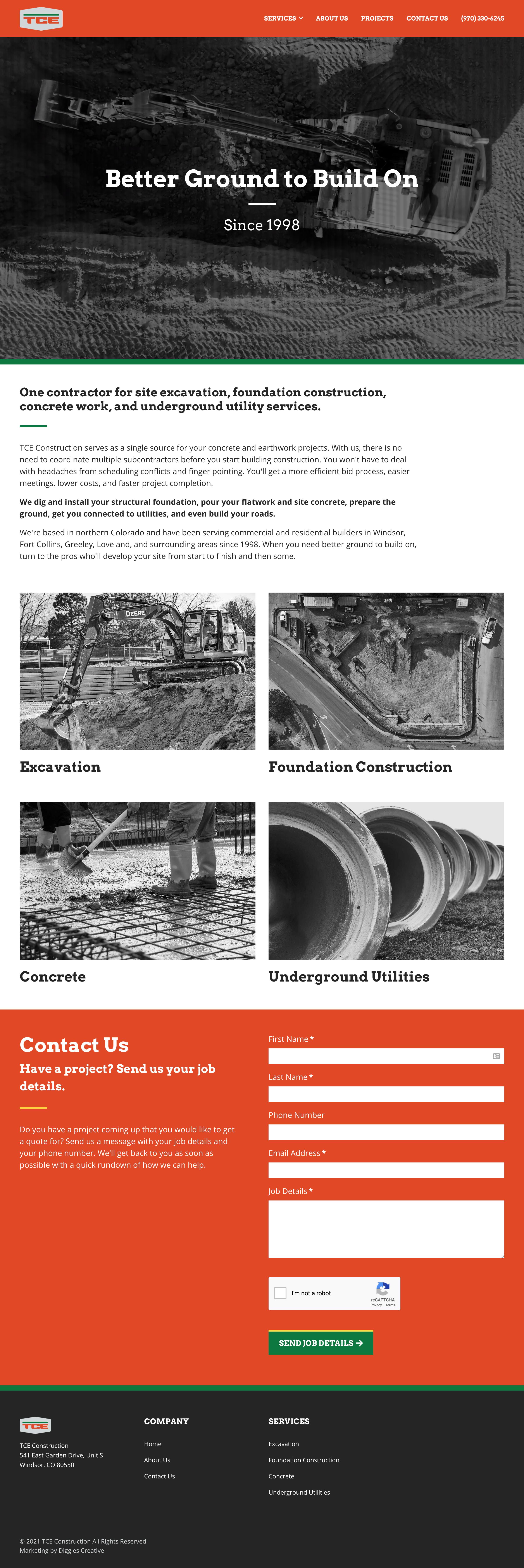 TCE Construction - Construction Website Design