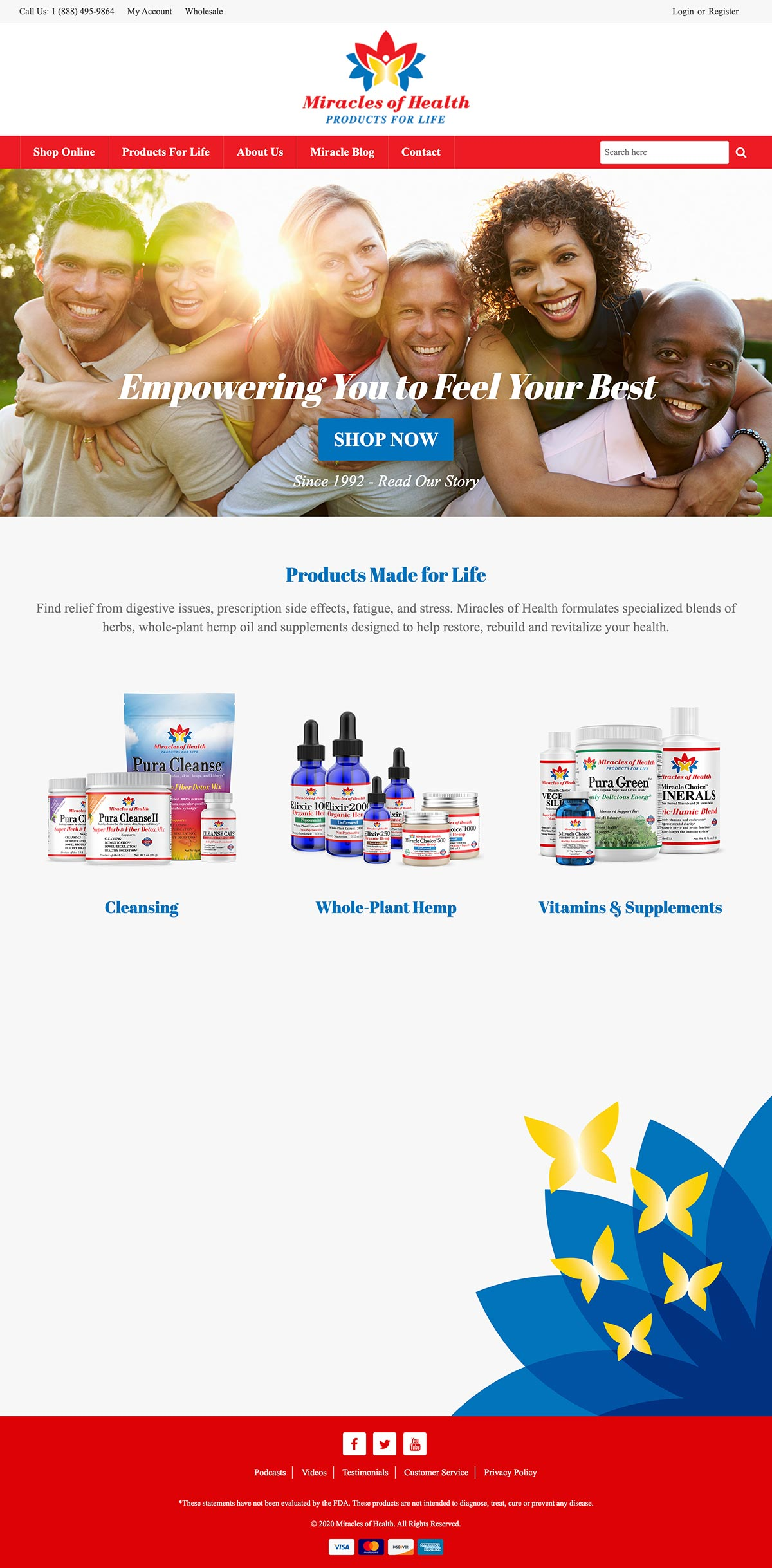 Miracles of Health - Ecommerce Website Design