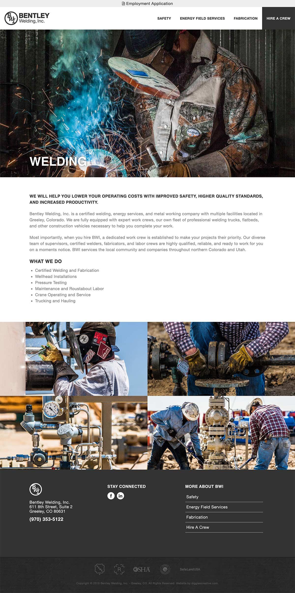 Bentley Welding Inc. - Industrial Website Design