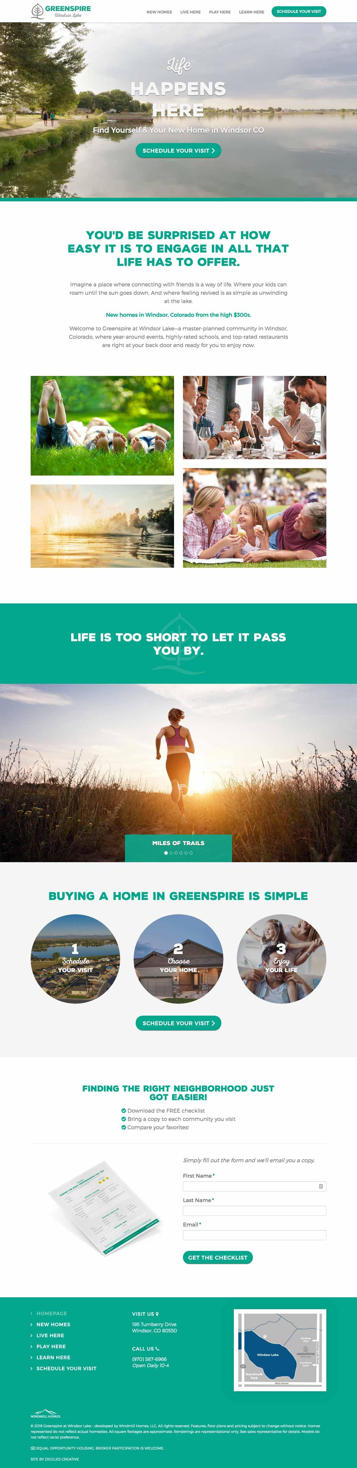 Greenspire at Windsor Lake - Master Planned Community Website Design