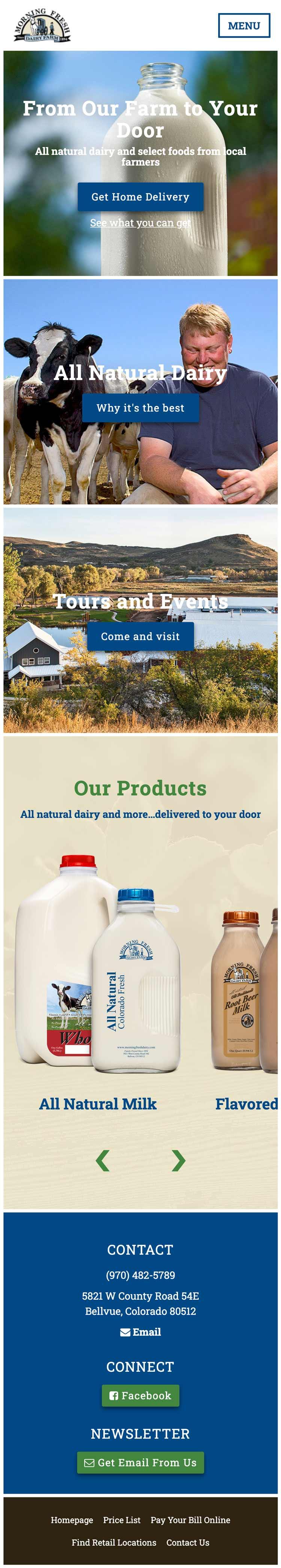 Morning Fresh Dairy - Dairy Website Design