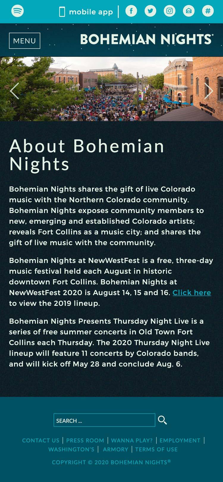 Bohemian Nights - Nonprofit Website Design